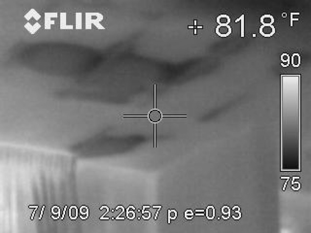 Thermal images of wet ceiling