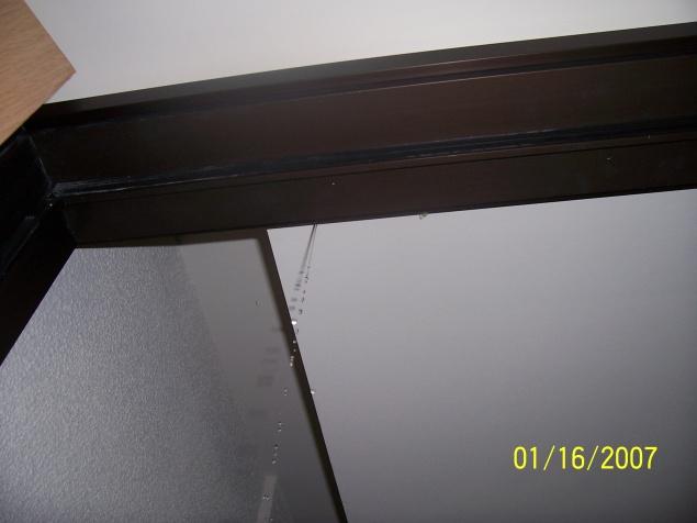 Dripping from door jamb